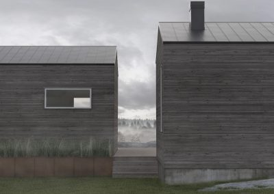 Two houses in fog